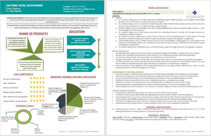Abu Dhabi Resume Format for Gulf Jobs