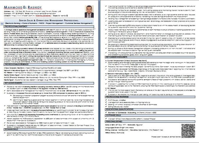 Dubai curriculum vitae english