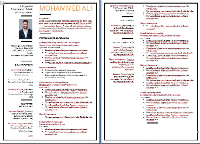 Cv Writing Sample And Resume Writing Example From Dubai