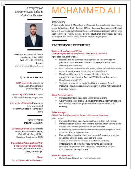 Fintech Sales Online Marketing Manager CV Writing Example for Chartered Accountant, ACCA, Auditor, Finance Consultant, VAT Consultant, Book-Keeping Technician, Chartered Financial Analyst