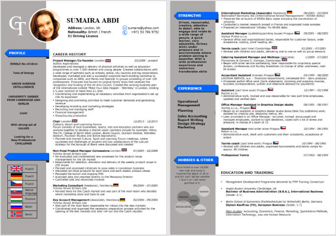 Leading Infographic Resume CV Sample