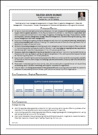 Procurement Supply Chain Logistics Management Sample CV: