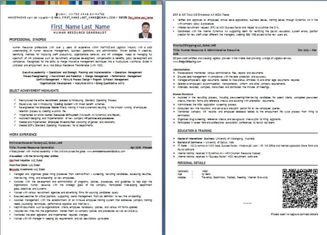 Cv Writing Sample And Templates From Dubai Forever Com