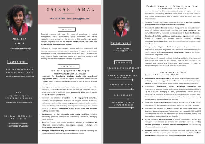 Exclusive Visual Professional CV Sample Download